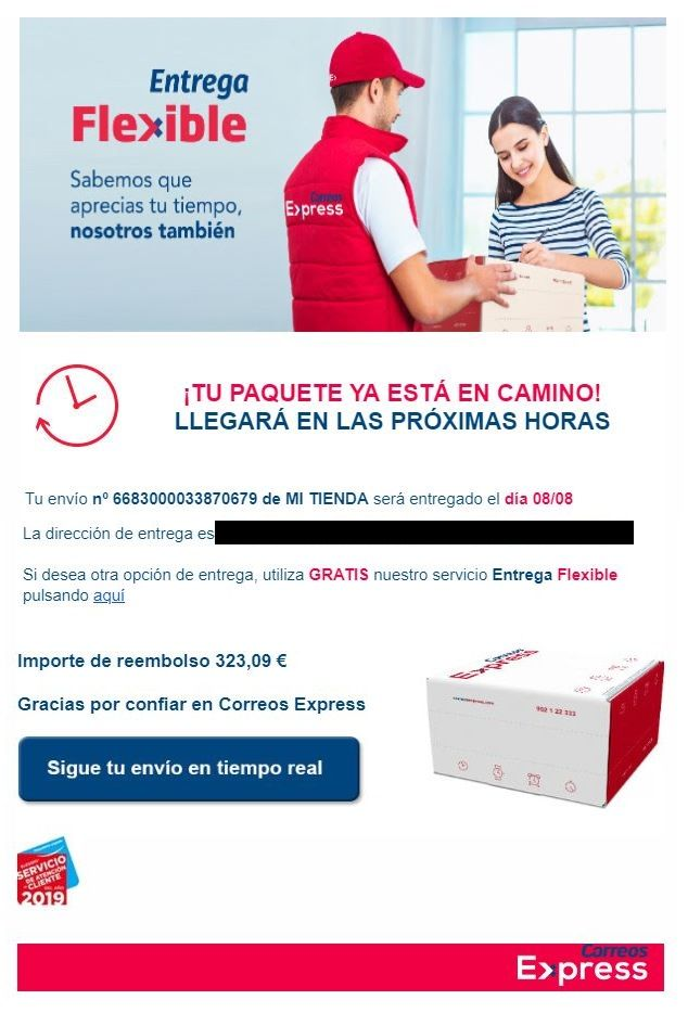 Email entrega de paquete