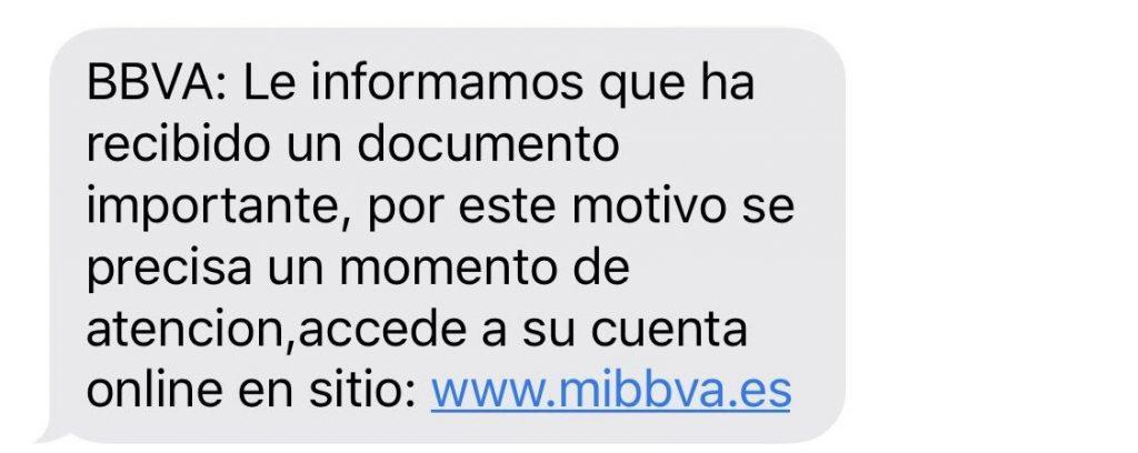 mensaje bbva
